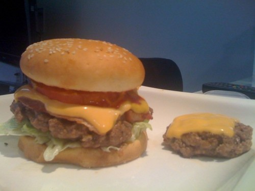 This is the cheeseburger that made me think DANG I GOTTA START SELLING THIS SHIT (the little one on the right was for Terry)