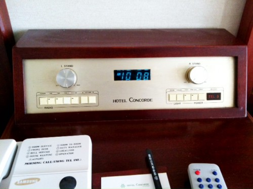Check out this kickass 50 yr old radio between the beds at the hotel