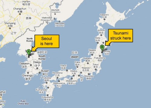 Luckily for Korea, the earthquake in Japan was more east than west